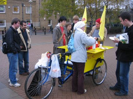 The rickshaw is ideally suited for mobile prasadam distribution