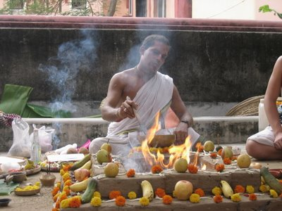 Fire Yajna at the Goshalla