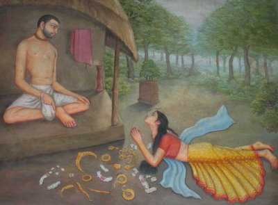 The Prostitute surrenders to Haridas Thakura
